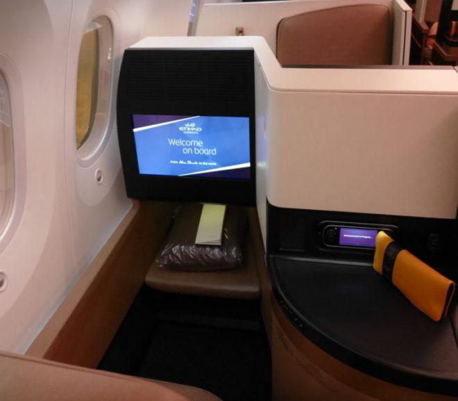 エティハド航空B787ビジネスクラス(アブダビー香港)