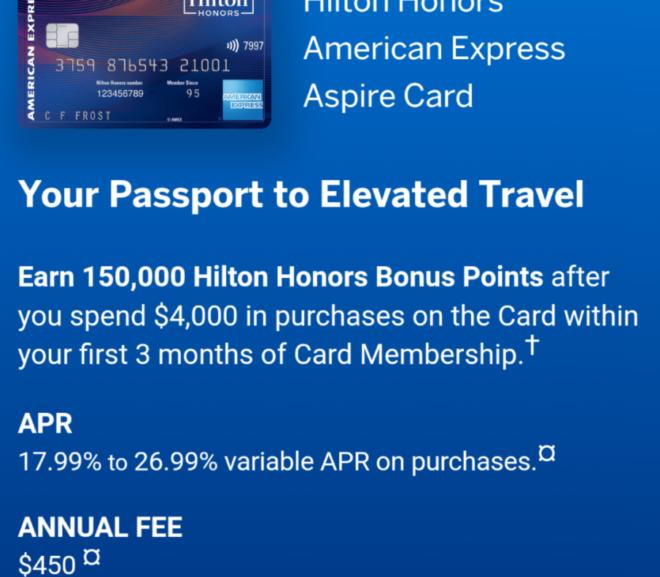 ヒルトン提携クレジットカード最高峰。AMEX Hilton Aspire